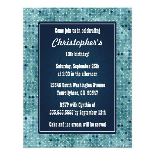 Invitación azul elegante del cumpleaños de los muc