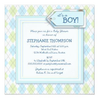Invitación azul feliz de la fiesta de bienvenida