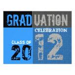 Invitación azul gráfica del fiesta de la graduació