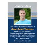 Invitación azul, gris, anaranjada de la graduación invitación 12,7 x 17,8 cm