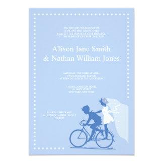 Invitación azul LINDA del boda de los pares de la