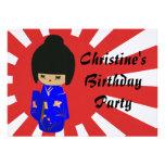 Invitación azul linda del cumpleaños de la muñeca