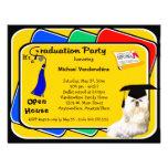 Invitación azul maltesa de la fiesta de graduación