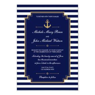 Invitación azul marino náutica elegante del boda invitación 12,7 x 17,8 cm