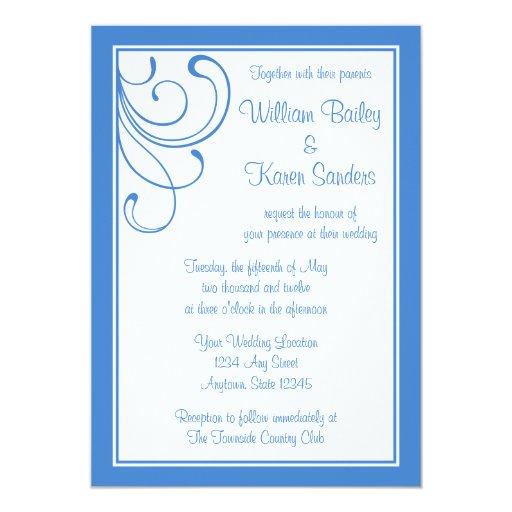 Invitación azul media de encargo - diseño del