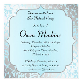 Invitación azul metálica elegante de Mitzvah de la