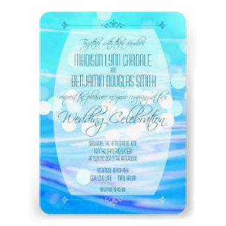Invitación azul moderna de la celebración del boda