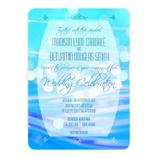 Invitación azul moderna de la celebración del boda invitación 11,4 x 15,8 cm