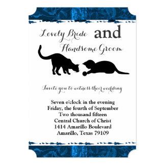 Invitación azul moderna del boda de los gatos