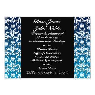 Invitación (azul) negra azul del boda