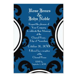 Invitación (azul) negra barroca del boda