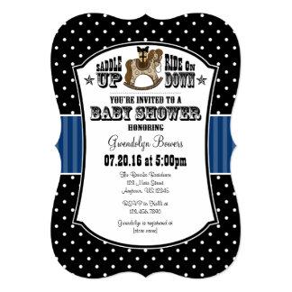 Invitación azul negra de la fiesta de bienvenida