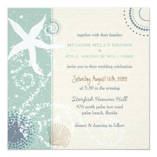 Invitación azul oscura del boda de playa del jade
