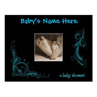 Invitación azul real de la ducha del bebé postales