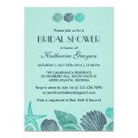 Invitación azul suave de los Seashells para el Invitación 12,7 X 17,8 Cm