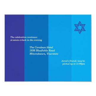 Invitación azul tonal de la recepción de Mitzvah