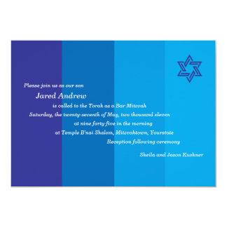 Invitación azul tonal de Mitzvah de la barra