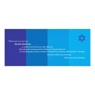 Invitación azul tonal de Mitzvah de la barra Invitación 10,1 X 23,5 Cm