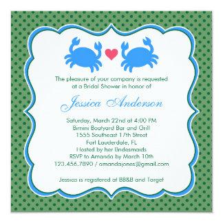 Invitación azul/verde de la ducha nupcial náutica