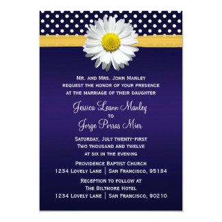 Invitación azul y amarilla del boda de la