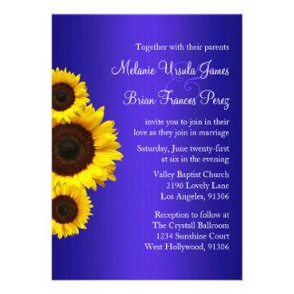 Invitación azul y amarilla del boda del girasol