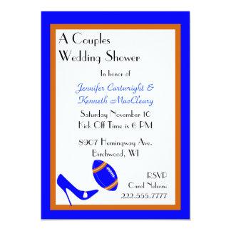 Invitación azul y anaranjada de la ducha del boda