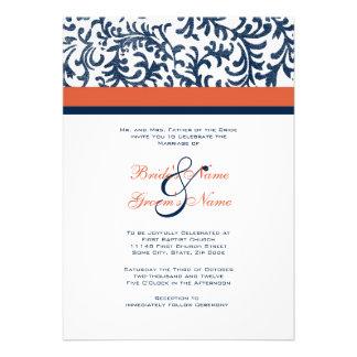 Invitación azul y anaranjada del boda