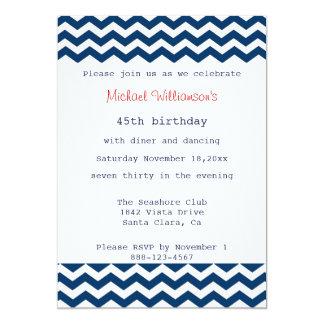 Invitación azul y blanca de Chevron