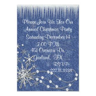 Invitación azul y blanca de la fiesta de Navidad