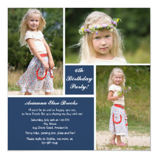 Invitación azul y blanca de la foto tres