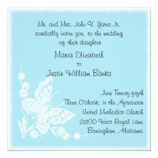 Invitación azul y blanca del boda del cuadrado de