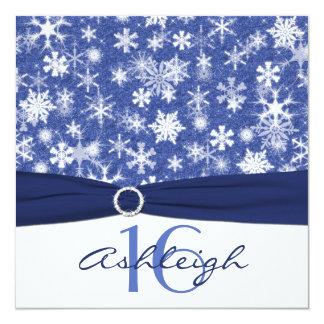 Invitación azul y blanca del cumpleaños del copo
