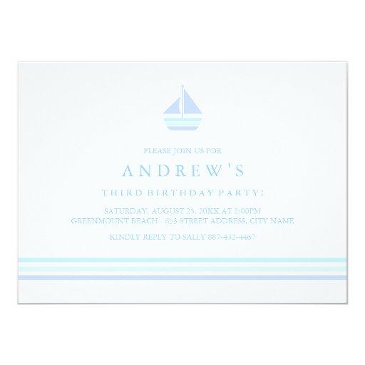 Invitación azul y blanca del cumpleaños del velero