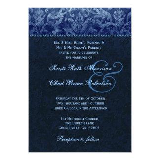 Invitación azul y de medianoche R531 del boda del