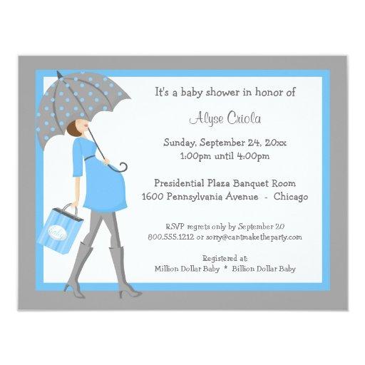 Invitación azul y gris de la fiesta de bienvenida