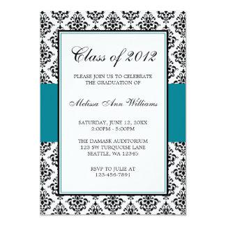 Invitación azul y negra del trullo del damasco de