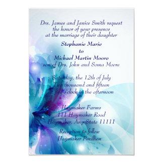 Invitación azul y púrpura del boda del diseño