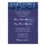 Invitación azul y púrpura R431 del boda del damasc