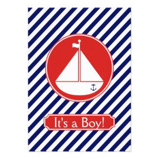Invitación azul y roja del bebé del velero