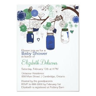 Invitación azul y verde de la fiesta de bienvenida