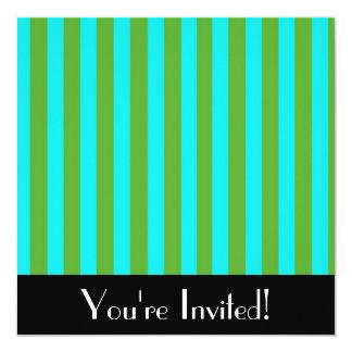 Invitación azul y verde de las rayas