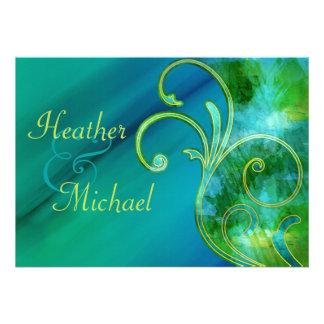 Invitación azul y verde del boda