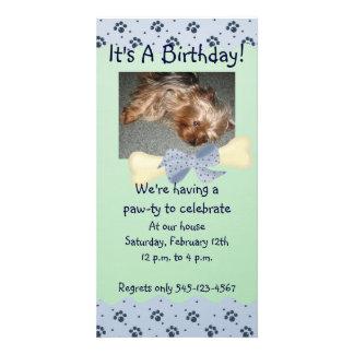 Invitación azul y verde del cumpleaños de la impre tarjeta fotográfica personalizada
