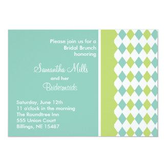 Invitación azul y verde del diamante invitación 12,7 x 17,8 cm