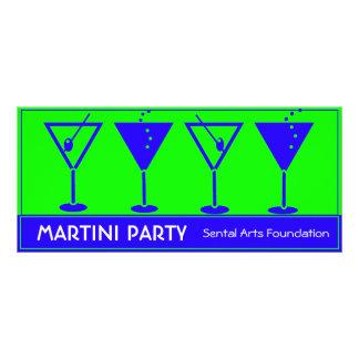Invitación azul y verde del fiesta de Martini Diseño De Tarjeta Publicitaria