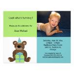 Invitación azul y verde del oso de peluche del cum