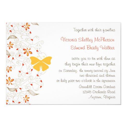 Invitación banal del boda de la mariposa