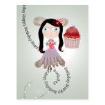 Invitación banal del fairycake rojo de la fiesta tarjetas postales