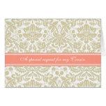 Invitación beige coralina de la dama de honor del  tarjeta