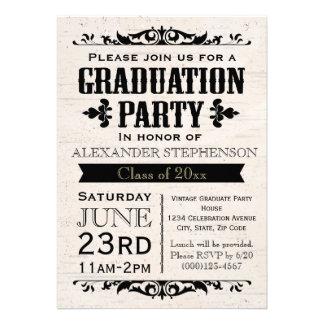 Invitación beige de la fiesta de graduación del vi